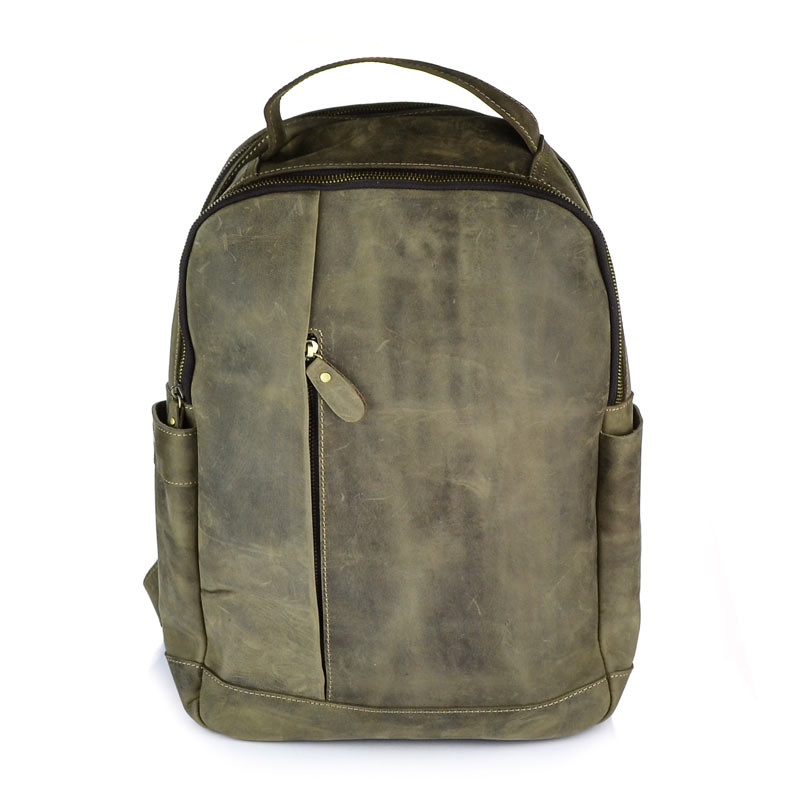 Genuine leather backpack for laptop